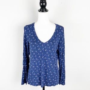In Bloom by Jonquil Navy Floral Pajama Top Lounge